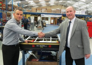 Adam Beck, PLS Managing Director (left), welcomes David Cunliffe to PLS as its new Technical Lift Sales Manager.