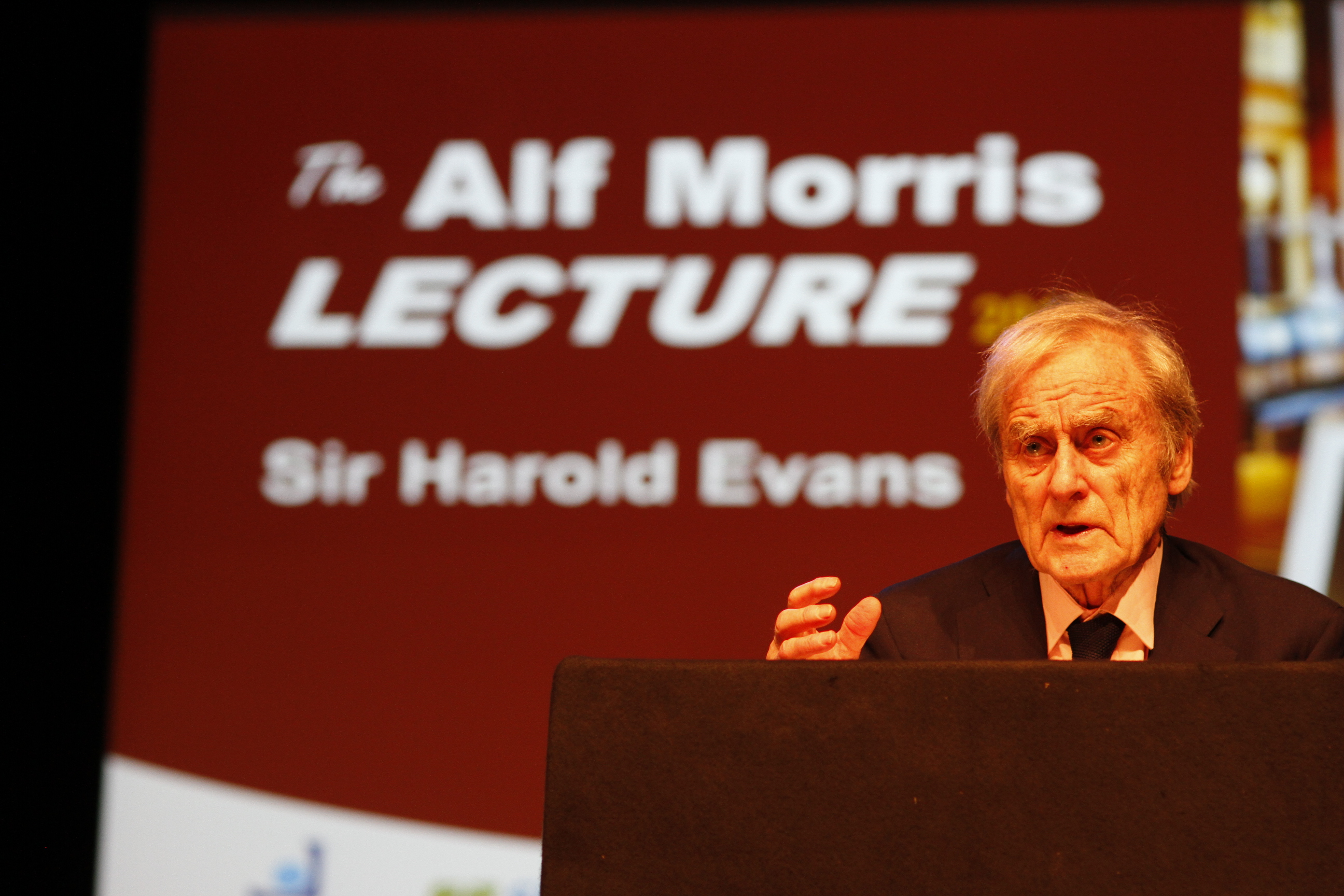Time for new thinking urges Sir Harold Evans at the first Alf Morris lecture