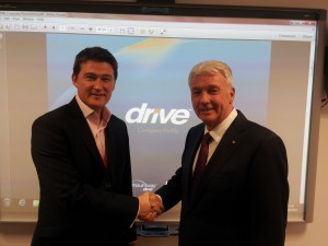 Richard McGleenan, managing director at Drive Medical with (right) Stephen Owens, owner of Parkhouse Healthcare