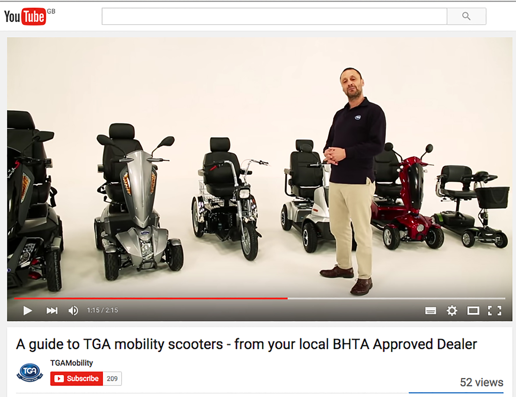 NEW TGA MOBILITY SCOOTER RANGE VIDEO LAUNCHED TO ASSIST RETAILERS AND PROMOTE BHTA