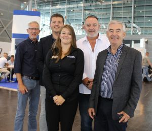 Over 30 members of the EMG successfully exhibited at Rehacare 2016. Pictured from left to right: Herman Rigterink & Bas Verboord, Tribus; Rebecca Richardson, Mobility Networks; Gerard Honan, Guidosimplex; Campbell McKee, EMG President.
